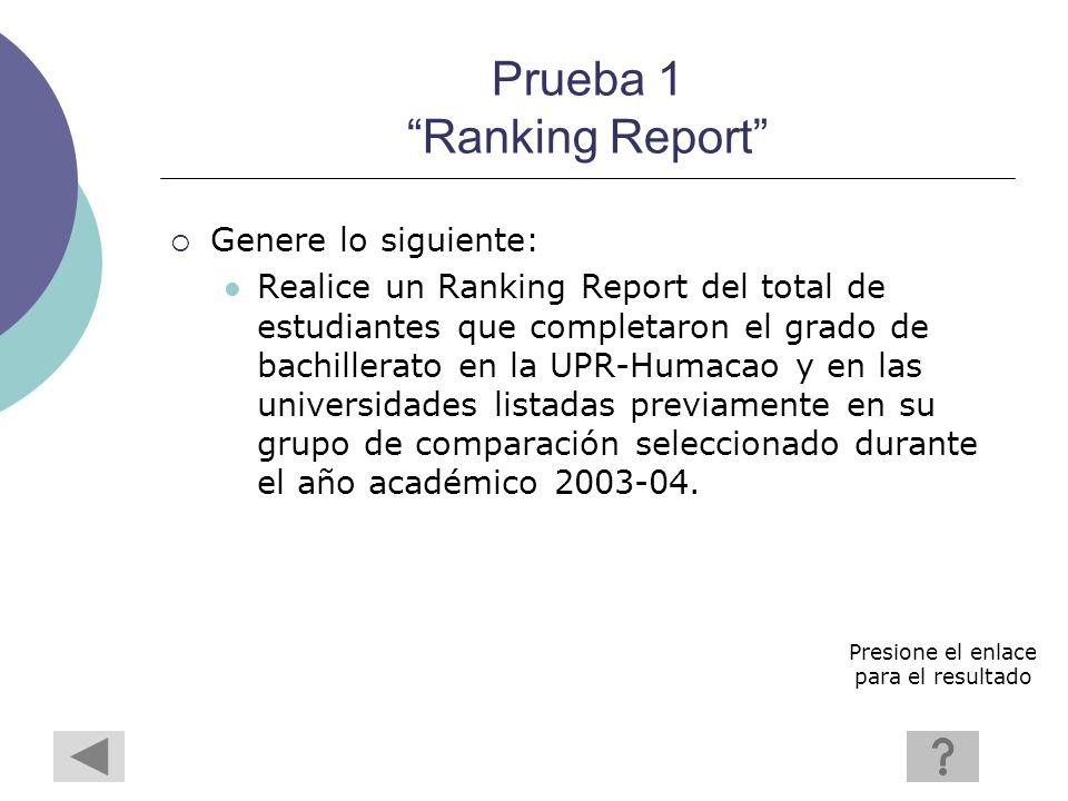 Prueba 1 Ranking Report Genere lo siguiente: Realice un Ranking Report del total de estudiantes que completaron el grado de bachillerato en la UPR-Humacao y en las universidades listadas previamente en su grupo de comparación seleccionado durante el año académico 2003-04.