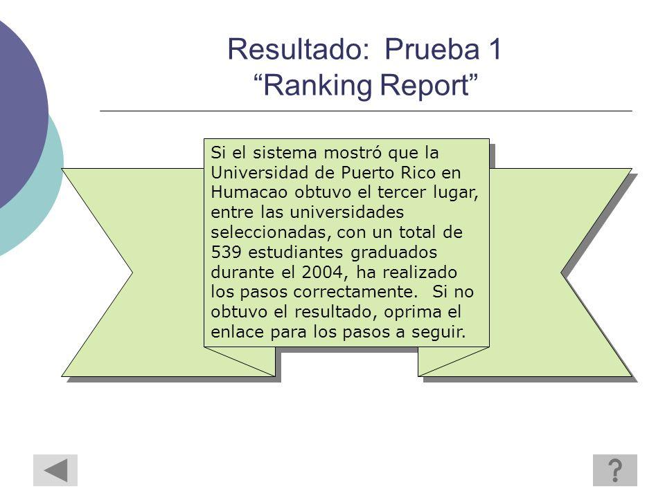Resultado: Prueba 1 Ranking Report Si el sistema mostró que la Universidad de Puerto Rico en Humacao obtuvo el tercer lugar, entre las universidades seleccionadas, con un total de 539 estudiantes graduados durante el 2004, ha realizado los pasos correctamente.