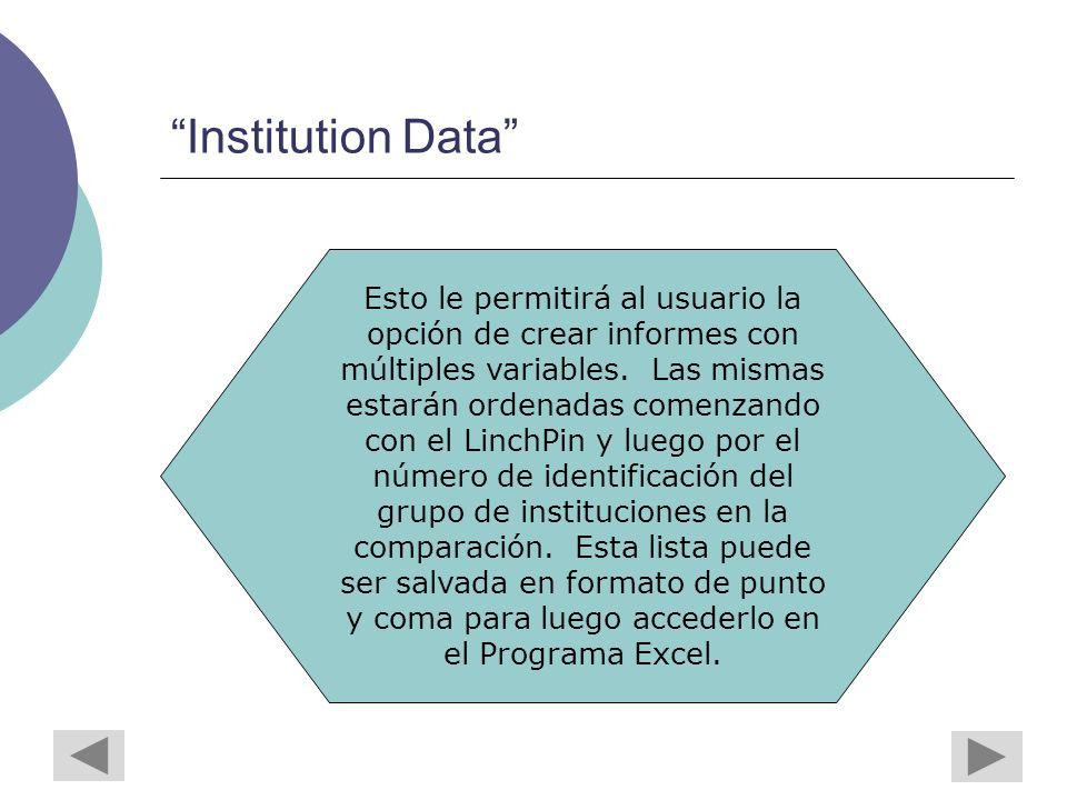 Institution Data Esto le permitirá al usuario la opción de crear informes con múltiples variables.
