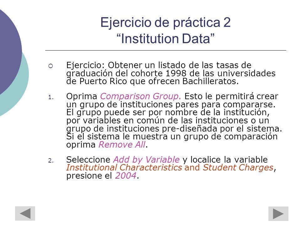 Ejercicio de práctica 2 Institution Data Ejercicio: Obtener un listado de las tasas de graduación del cohorte 1998 de las universidades de Puerto Rico que ofrecen Bachilleratos.