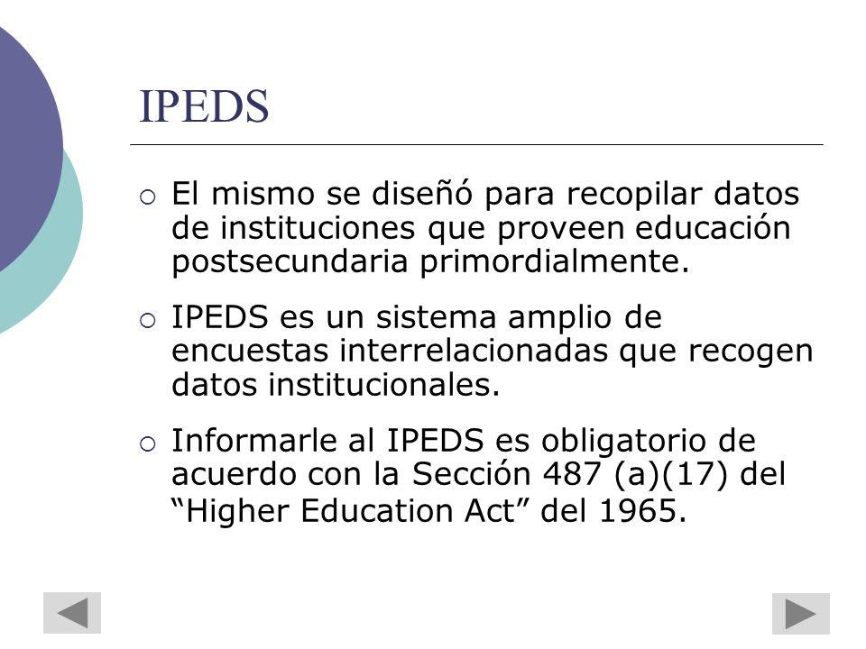 IPEDS El mismo se diseñó para recopilar datos de instituciones que proveen educación postsecundaria primordialmente.