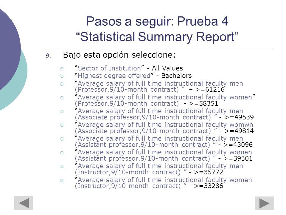 Pasos a seguir: Prueba 4 Statistical Summary Report 9.
