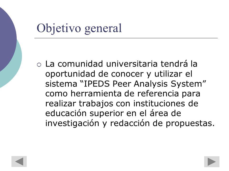 Objetivo general La comunidad universitaria tendrá la oportunidad de conocer y utilizar el sistema IPEDS Peer Analysis System como herramienta de referencia para realizar trabajos con instituciones de educación superior en el área de investigación y redacción de propuestas.