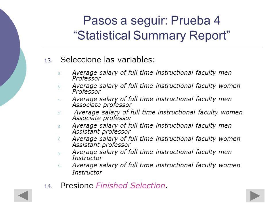 Pasos a seguir: Prueba 4 Statistical Summary Report 13.