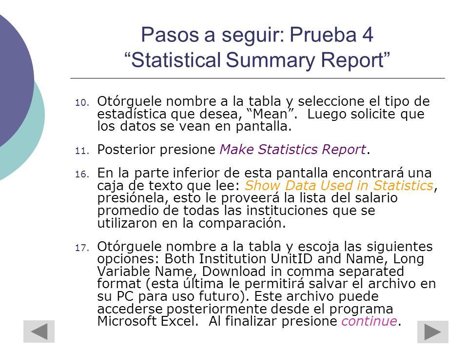 Pasos a seguir: Prueba 4 Statistical Summary Report 10.