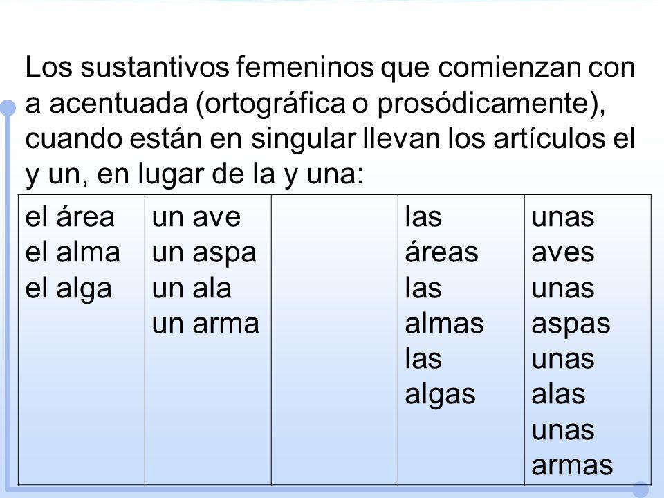 Los sustantivos femeninos que comienzan con a acentuada (ortográfica o prosódicamente), cuando están en singular llevan los artículos el y un, en luga