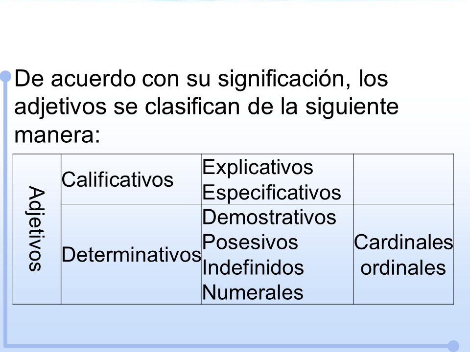 De acuerdo con su significación, los adjetivos se clasifican de la siguiente manera: Adjetivos Calificativos Explicativos Especificativos Determinativ