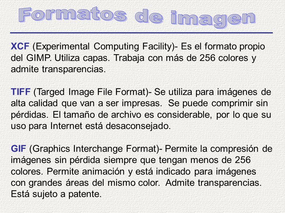 XCF (Experimental Computing Facility)- Es el formato propio del GIMP.