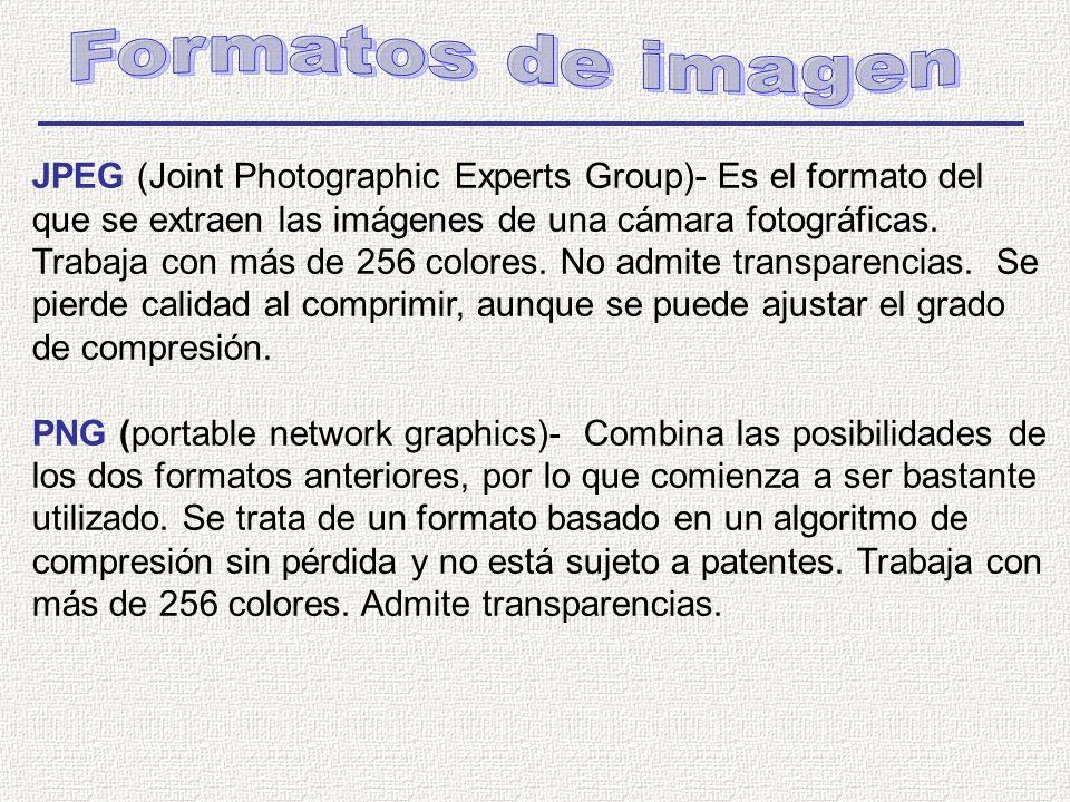 JPEG (Joint Photographic Experts Group)- Es el formato del que se extraen las imágenes de una cámara fotográficas.