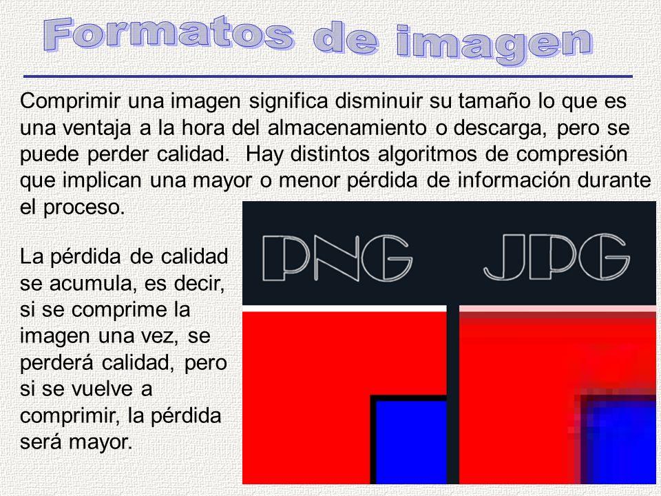 Comprimir una imagen significa disminuir su tamaño lo que es una ventaja a la hora del almacenamiento o descarga, pero se puede perder calidad.