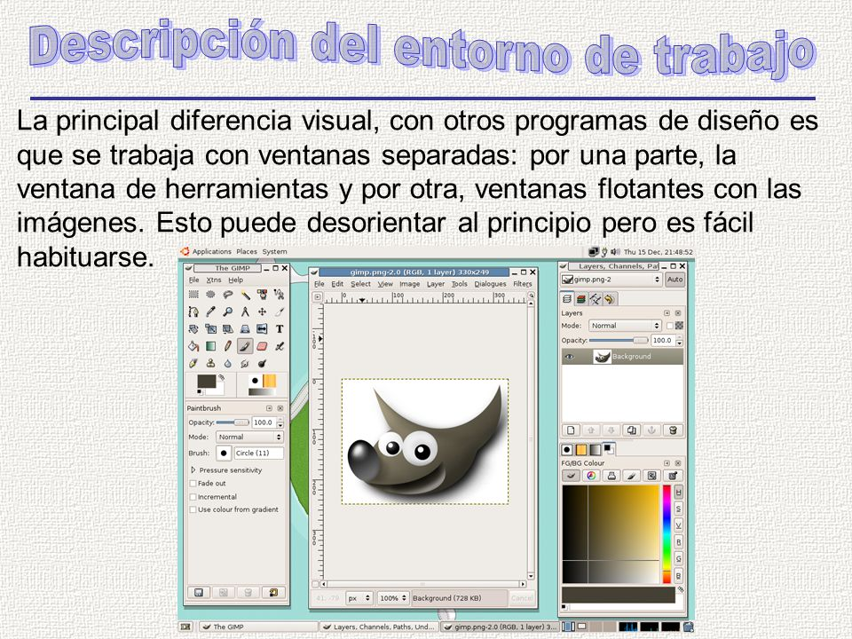 La principal diferencia visual, con otros programas de diseño es que se trabaja con ventanas separadas: por una parte, la ventana de herramientas y por otra, ventanas flotantes con las imágenes.