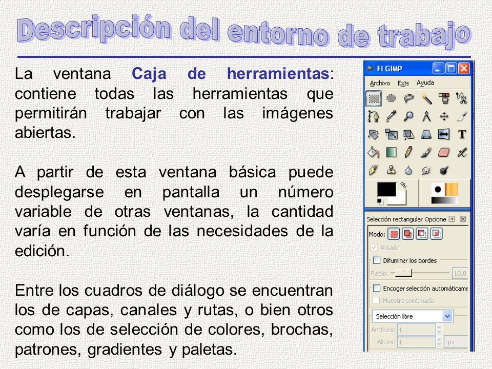 La ventana Caja de herramientas: contiene todas las herramientas que permitirán trabajar con las imágenes abiertas.
