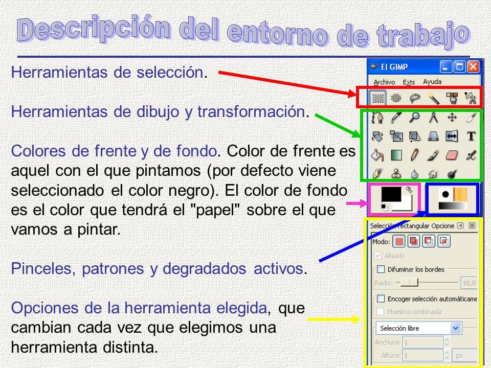 Herramientas de selección. Herramientas de dibujo y transformación.