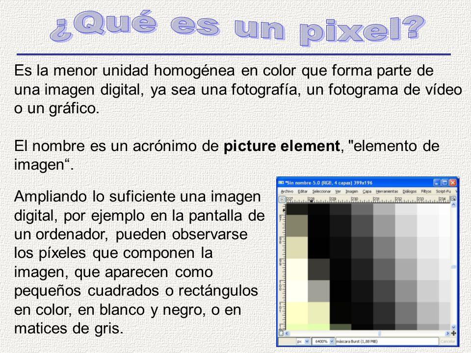 Es la menor unidad homogénea en color que forma parte de una imagen digital, ya sea una fotografía, un fotograma de vídeo o un gráfico.