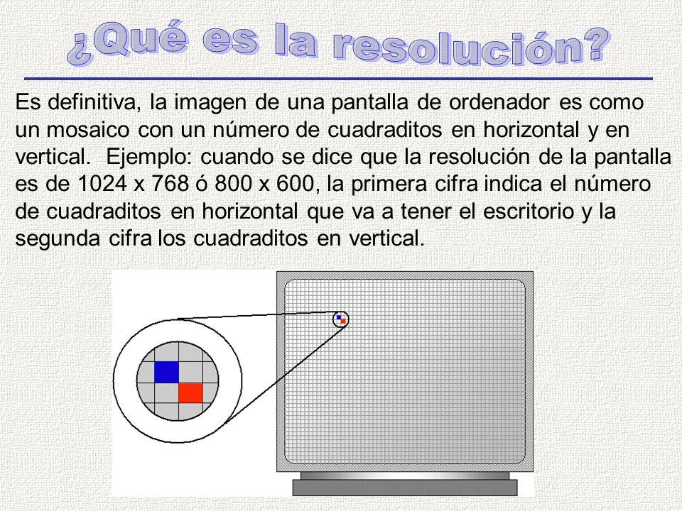 Es definitiva, la imagen de una pantalla de ordenador es como un mosaico con un número de cuadraditos en horizontal y en vertical.