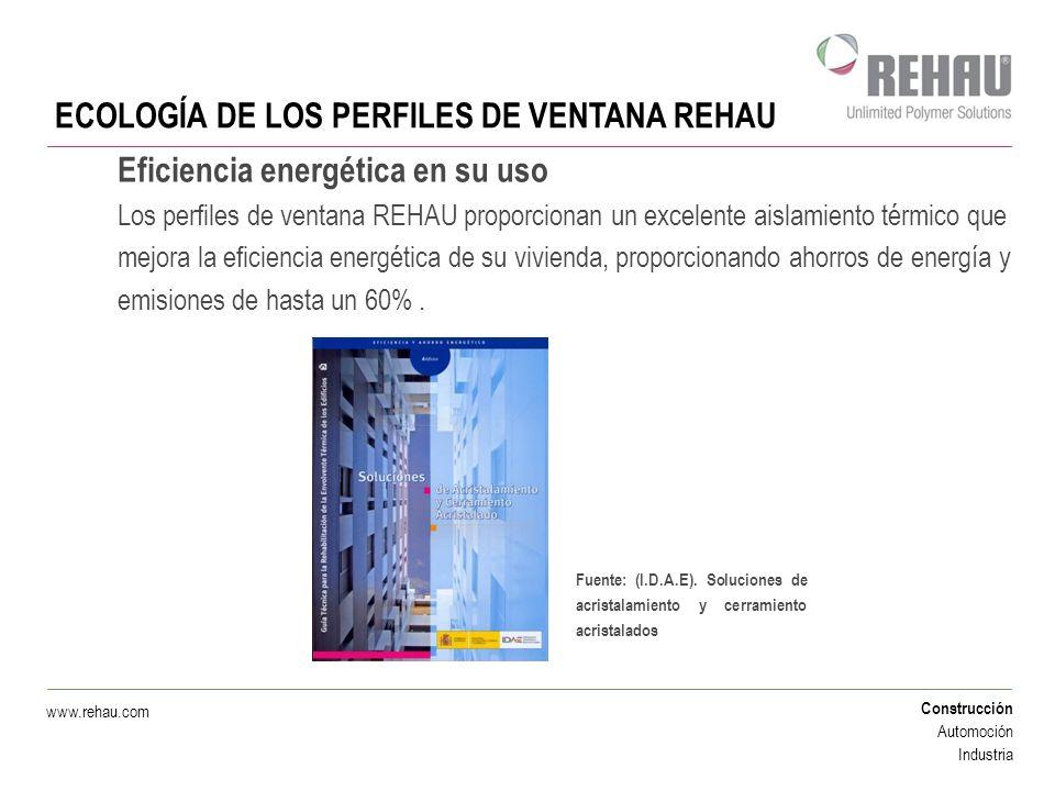 Construcción Automoción Industria www.rehau.com Eficiencia energética en su uso Los perfiles de ventana REHAU proporcionan un excelente aislamiento té