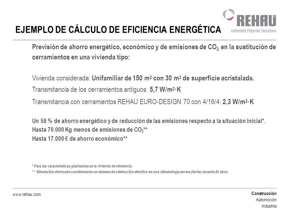 Construcción Automoción Industria www.rehau.com EJEMPLO DE CÁLCULO DE EFICIENCIA ENERGÉTICA Previsión de ahorro energético, económico y de emisiones d