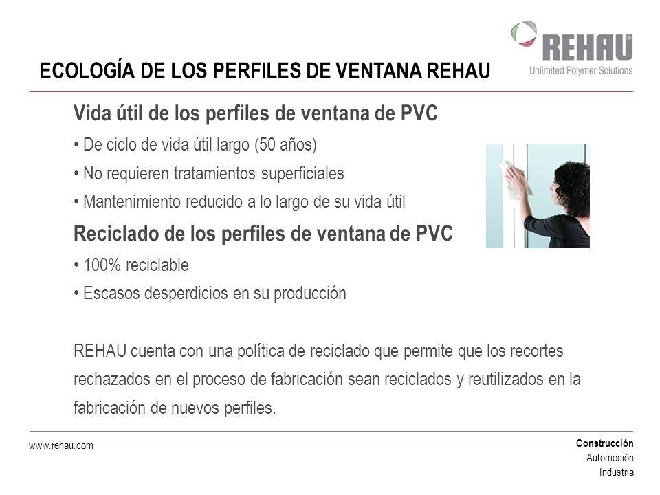 Construcción Automoción Industria www.rehau.com ECOLOGÍA DE LOS PERFILES DE VENTANA REHAU Vida útil de los perfiles de ventana de PVC De ciclo de vida