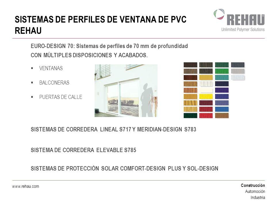 Construcción Automoción Industria www.rehau.com MÚLTIPLES OPCIONES DE APERTURA OSCILOBATIENTE CORREDERA PARALELA Y ELEVABLE PLEGABLE OTRAS SISTEMAS DE PERFILES DE VENTANA DE PVC REHAU