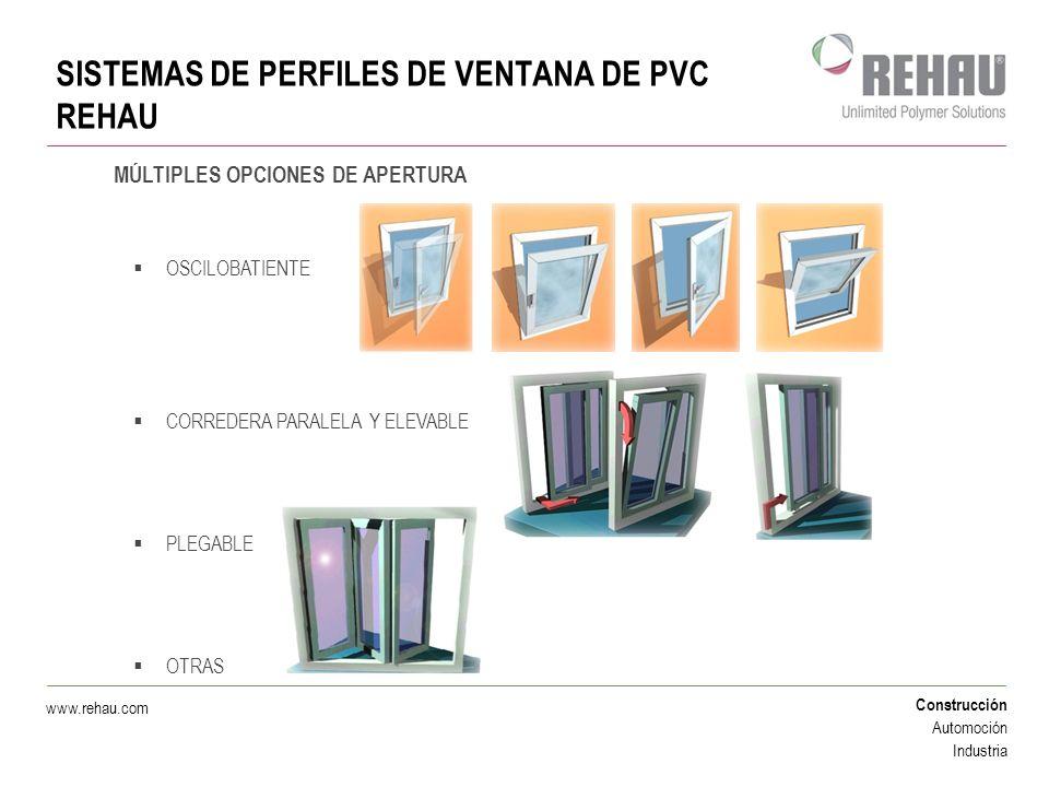 Construcción Automoción Industria www.rehau.com CAPACIDAD DE AISLAMIENTO DE LOS PERFILES DE VENTANA REHAU AISLAMIENTO TÉRMICO: La perfilería de PVC presenta los valores de aislamiento térmico más elevados del mercado.
