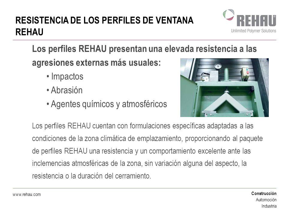 Construcción Automoción Industria www.rehau.com RESISTENCIA DE LOS PERFILES DE VENTANA REHAU Los perfiles REHAU presentan una elevada resistencia a la