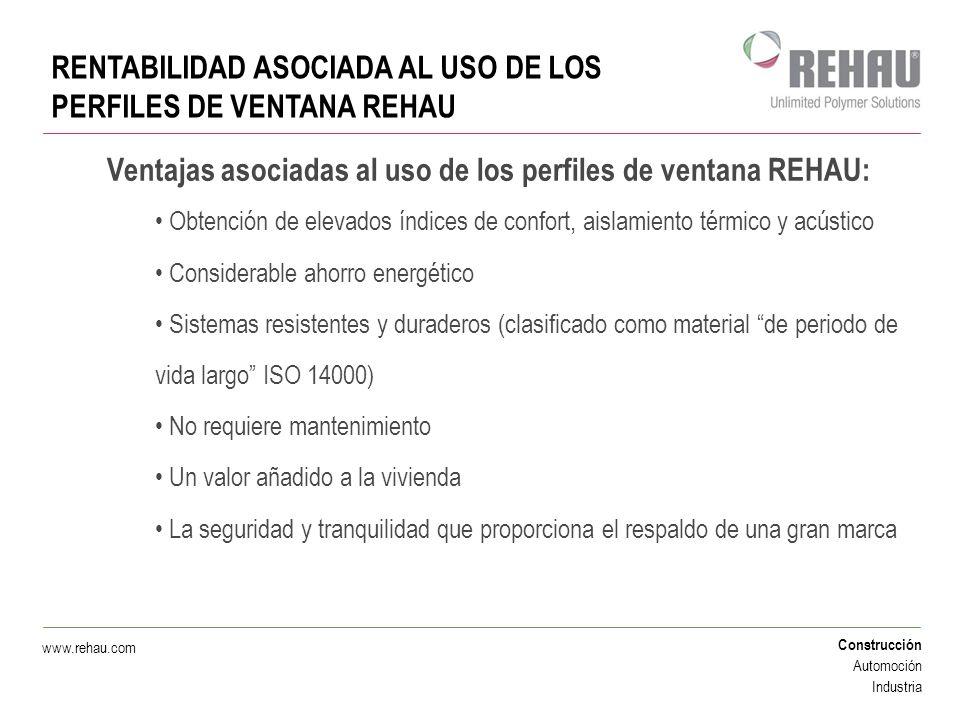 Construcción Automoción Industria www.rehau.com RENTABILIDAD ASOCIADA AL USO DE LOS PERFILES DE VENTANA REHAU Ventajas asociadas al uso de los perfile