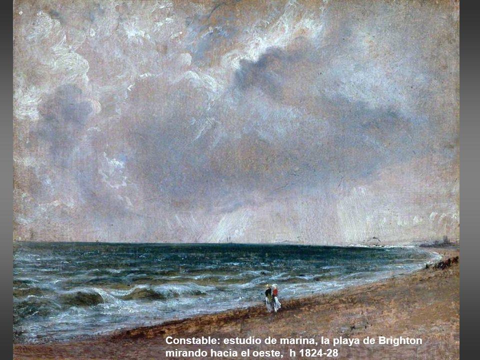 Johan Wilhelm Schirmer: Olas en la costa de Normandía con barcos lejanos, 1836