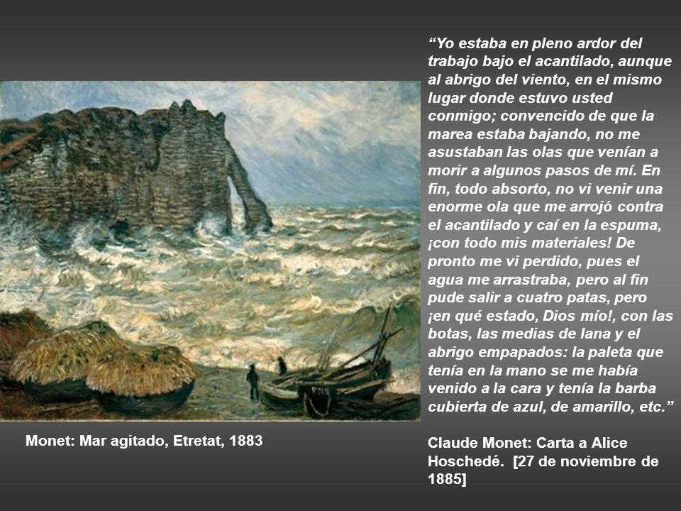 Monet: Acantilado y Porte d´Aval con mal tiempo, 1883