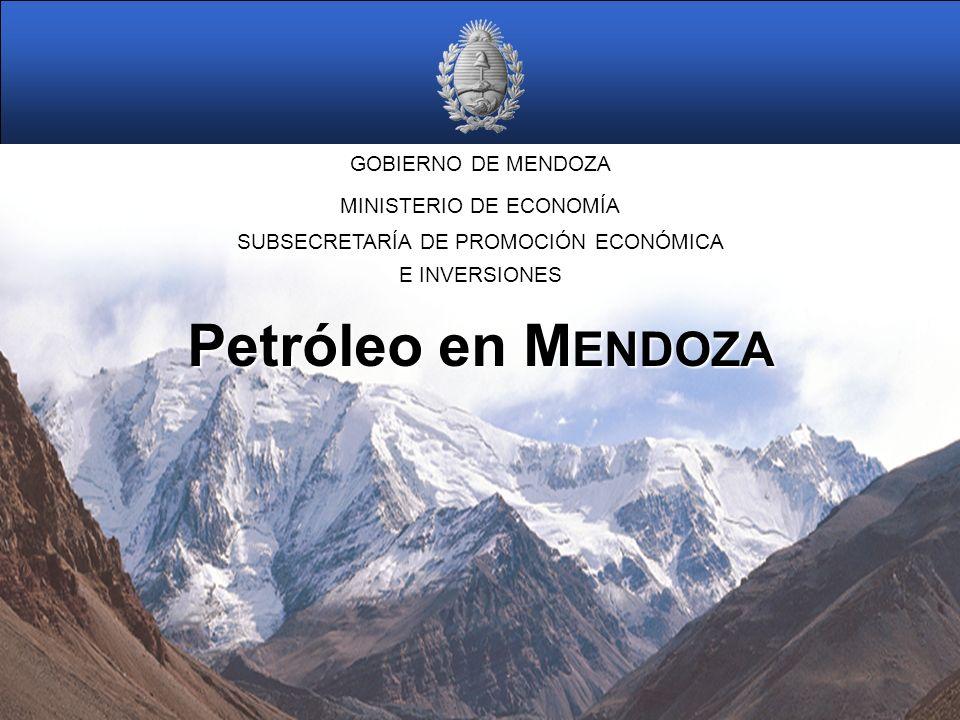 GOBIERNO DE MENDOZA Petróleo en M ENDOZA MINISTERIO DE ECONOMÍA SUBSECRETARÍA DE PROMOCIÓN ECONÓMICA E INVERSIONES