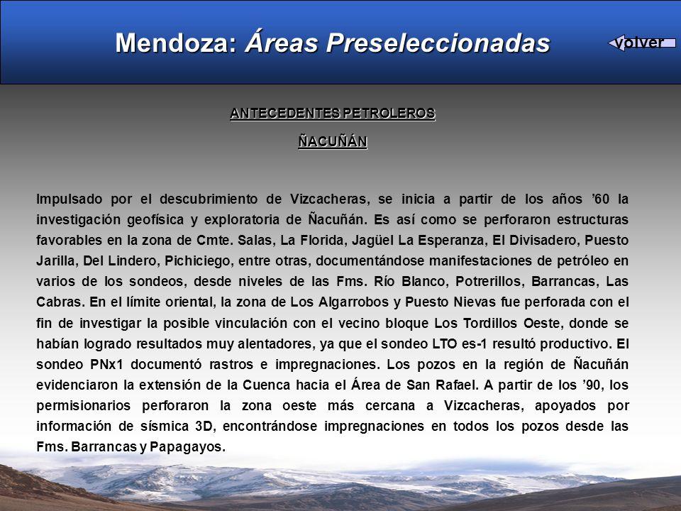 ANTECEDENTES PETROLEROS ÑACUÑÁN Impulsado por el descubrimiento de Vizcacheras, se inicia a partir de los años 60 la investigación geofísica y explora