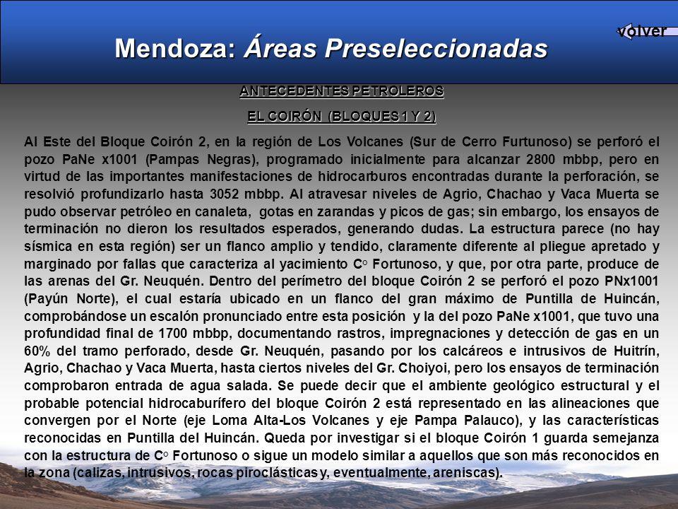 ANTECEDENTES PETROLEROS EL COIRÓN (BLOQUES 1 Y 2) Al Este del Bloque Coirón 2, en la región de Los Volcanes (Sur de Cerro Furtunoso) se perforó el pozo PaNe x1001 (Pampas Negras), programado inicialmente para alcanzar 2800 mbbp, pero en virtud de las importantes manifestaciones de hidrocarburos encontradas durante la perforación, se resolvió profundizarlo hasta 3052 mbbp.