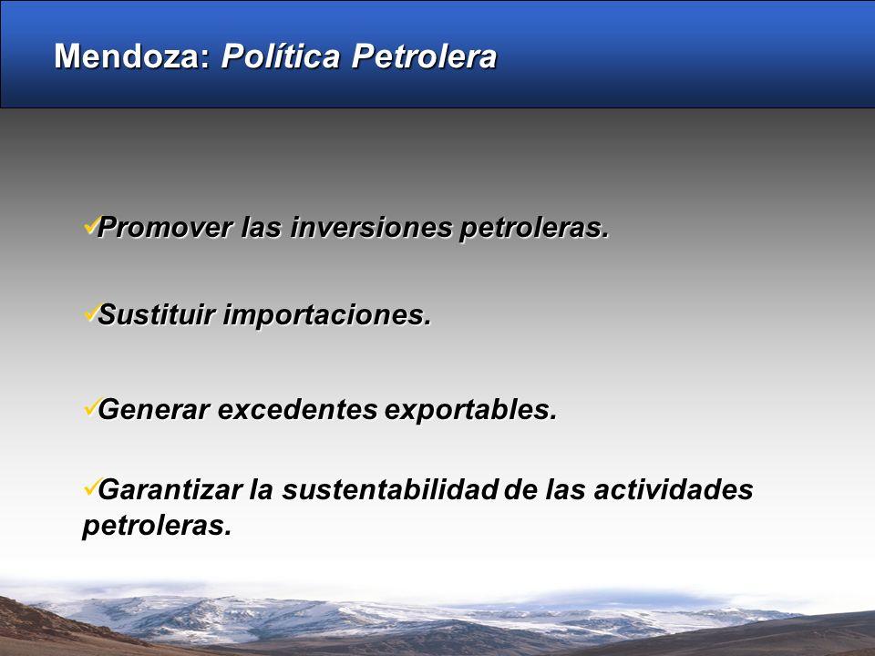 Mendoza: Política Petrolera Garantizar la sustentabilidad de las actividades petroleras. Garantizar la sustentabilidad de las actividades petroleras.