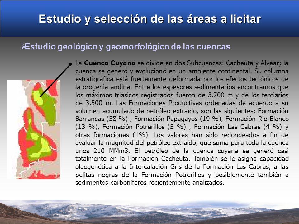 Estudio y selección de las áreas a licitar Estudio geológico y geomorfológico de las cuencas La Cuenca Cuyana se divide en dos Subcuencas: Cacheuta y Alvear; la cuenca se generó y evolucionó en un ambiente continental.