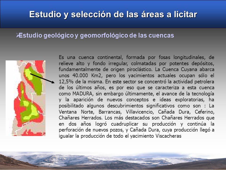 Estudio y selección de las áreas a licitar Estudio geológico y geomorfológico de las cuencas Es una cuenca continental, formada por fosas longitudinal