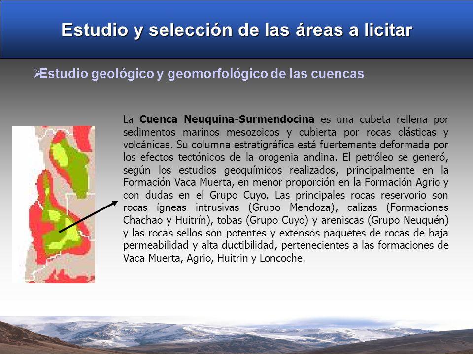 Estudio y selección de las áreas a licitar Estudio geológico y geomorfológico de las cuencas La Cuenca Neuquina-Surmendocina es una cubeta rellena por sedimentos marinos mesozoicos y cubierta por rocas clásticas y volcánicas.