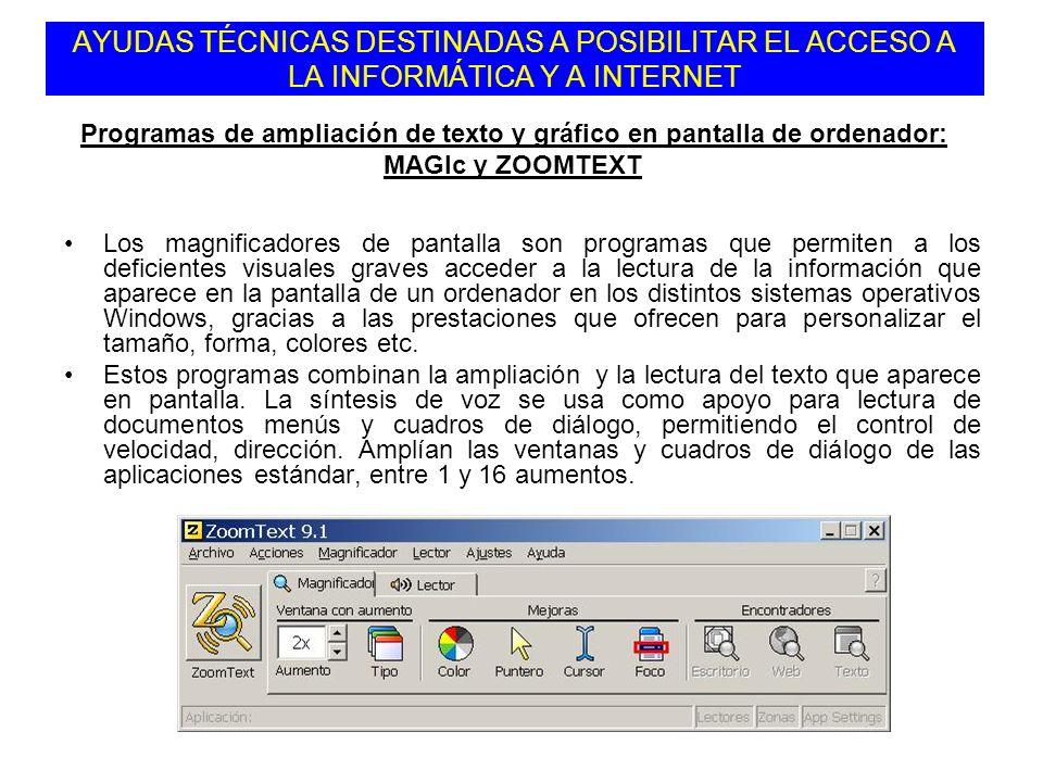Los magnificadores de pantalla son programas que permiten a los deficientes visuales graves acceder a la lectura de la información que aparece en la p