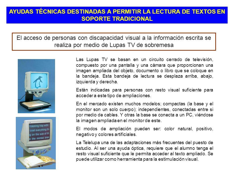 El acceso de personas con discapacidad visual a la información escrita se realiza por medio de Lupas TV de sobremesa Las Lupas TV se basan en un circu