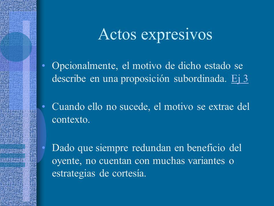 Actos expresivos Su valor informativo es reducido dado que apuntan a resaltar el componente social del intercambio verbal. Los casos centrados en el o