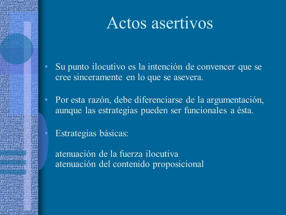 Actos de habla no corteses Su objeto ilocutivo no implica un beneficio directo para el interlocutor. La aserción y la exhortación no comunican cortesí