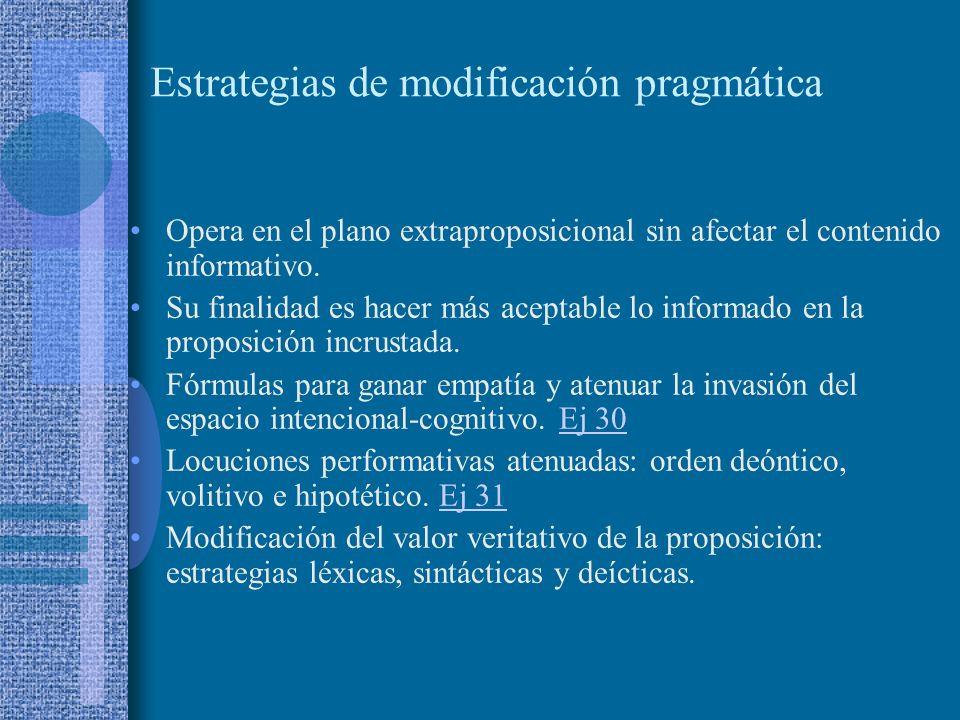 Estrategias de modificación semántica Opera sobre la estructura informativa de la proposición. Aparenta moderación en la contradicción o disentimiento