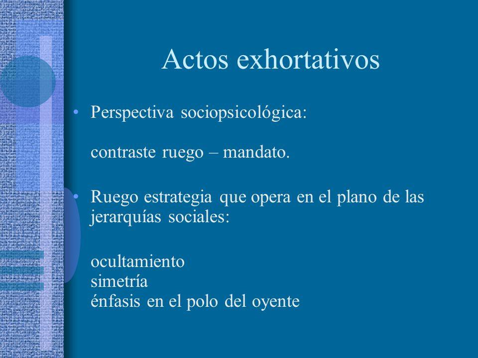 Actos exhortativos Objeto ilocutivo: influir en el comportamiento intencional del oyente de forma que éste lleve a cabo la acción indicada por el cont
