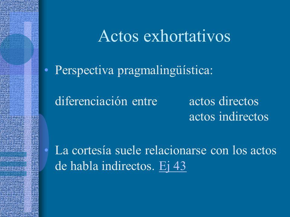 Actos exhortativos Perspectiva sociopsicológica: contraste ruego – mandato. Ruego estrategia que opera en el plano de las jerarquías sociales: ocultam