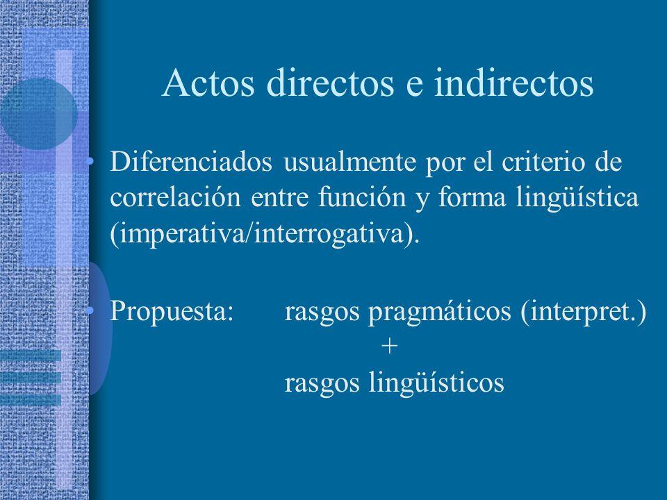 Actos exhortativos Perspectiva pragmalingüística: diferenciación entreactos directos actos indirectos La cortesía suele relacionarse con los actos de