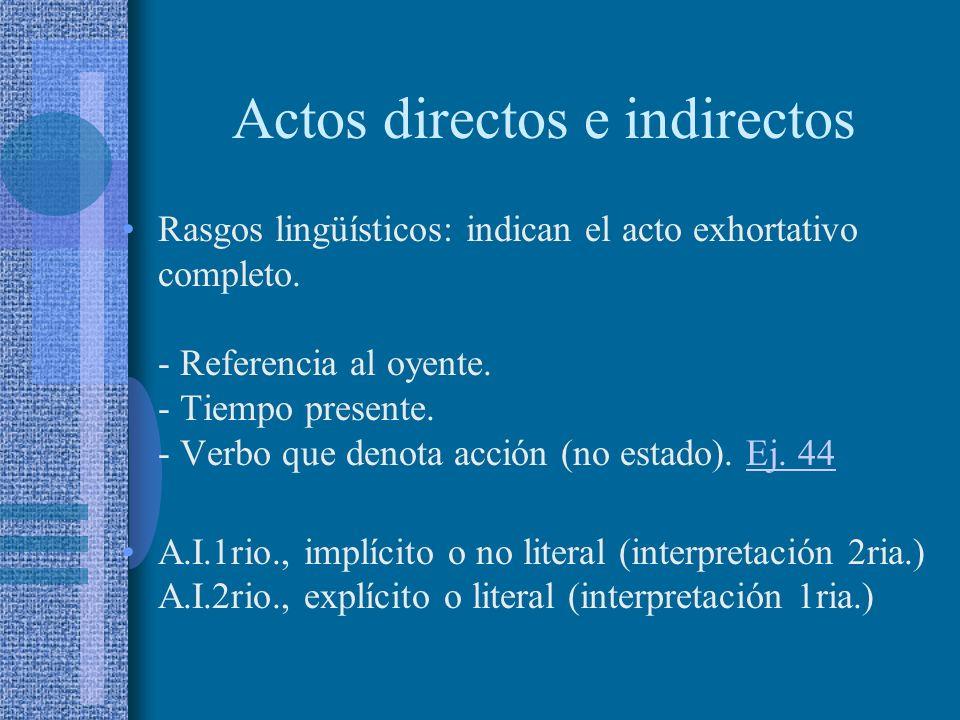 Actos directos e indirectos Diferenciados usualmente por el criterio de correlación entre función y forma lingüística (imperativa/interrogativa). Prop