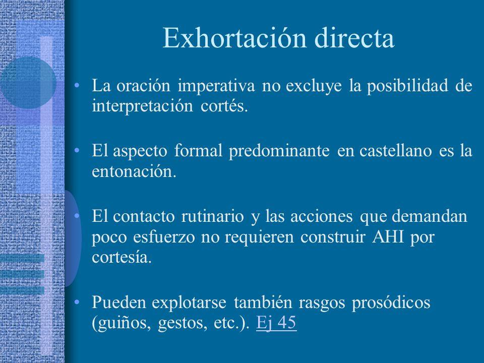 Actos directos e indirectos Rasgos lingüísticos: indican el acto exhortativo completo. - Referencia al oyente. - Tiempo presente. - Verbo que denota a