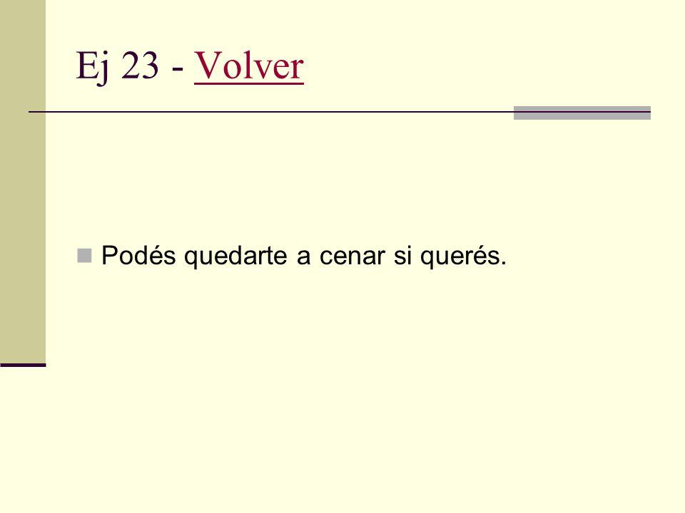 Ej 22 - VolverVolver Acciones del hablante Promesa. Acciones del oyente Invitación.