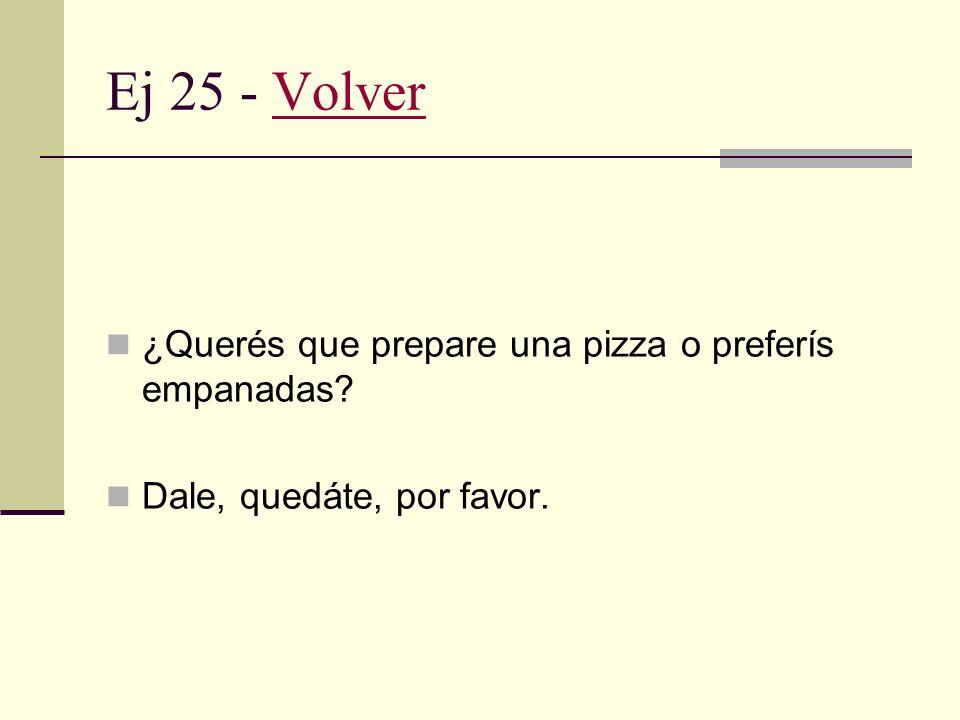 Ej 24 - VolverVolver Quedate a comer. Ya es tarde y no vas a encontrar lugares abiertos.