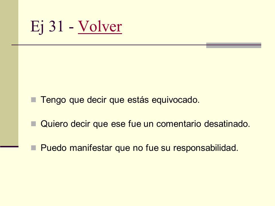 Ej 30 - VolverVolver No quiero pecar de cortamambo, pero están cerrando el negocio. No quiero interrumpir la conversación, pero se nos hace tarde. Dis