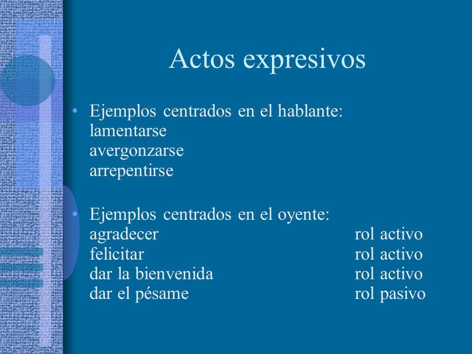 Actos expresivos Su contenido proposicional describe una propiedad y/o estado psicológico del hablante o del oyente (Searle). De algún modo, todos imp