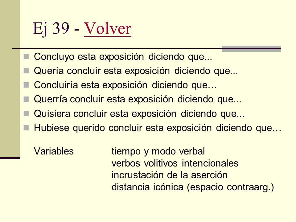 Ej 38 - VolverVolver Si fuera posible, me gustaría terminar diciendo que... Si tuviera que opinar al respecto, diría que... Si tuviere que tomar una d